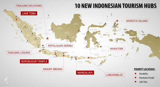 The 10 new Indonesia's tourism hubs