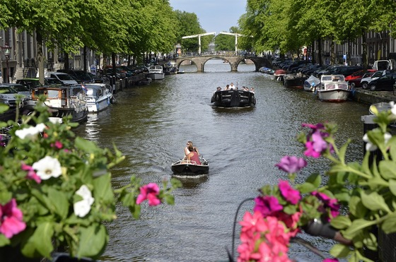 Canal boats transport in Amsterdam