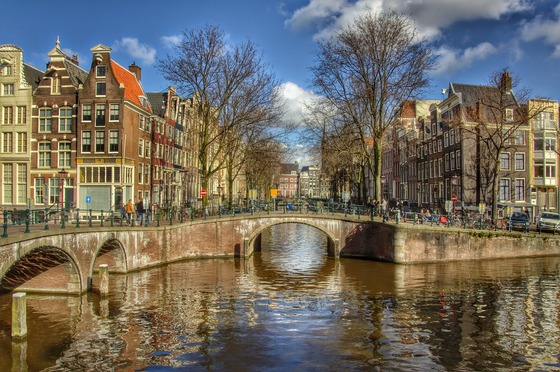 Canal bridges in Amsterdam centre