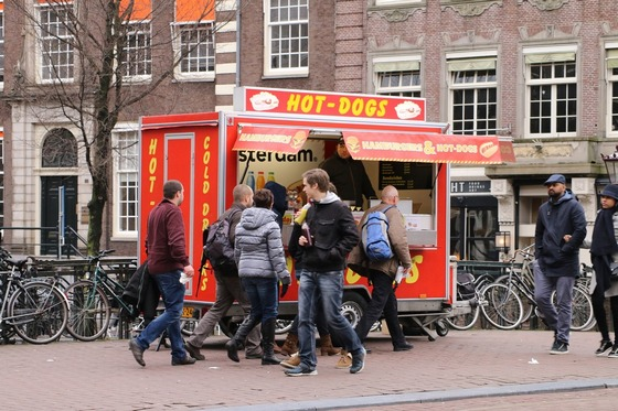 A hot dog stand in Amsterdam street