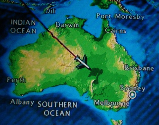 In-flight map of Australia