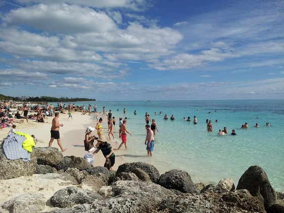Bathers enjoying the beach in the Bahamas