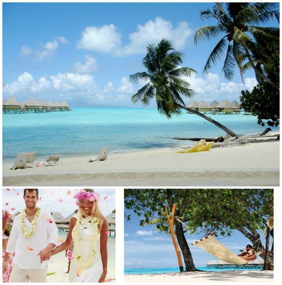 Beach wedding at Bora Bora island