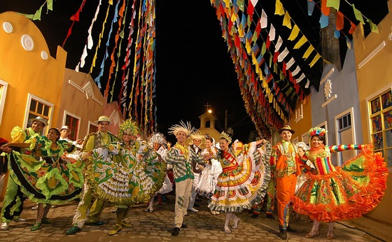 Colourful street party in South America