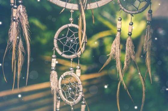 Dream catchers on a string.