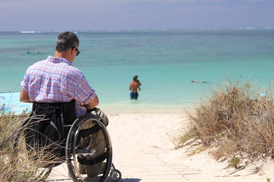 Disabled on a beach holiday