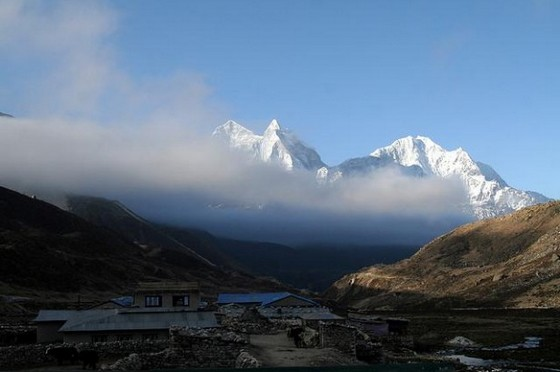 Himalayan mountains in clouds