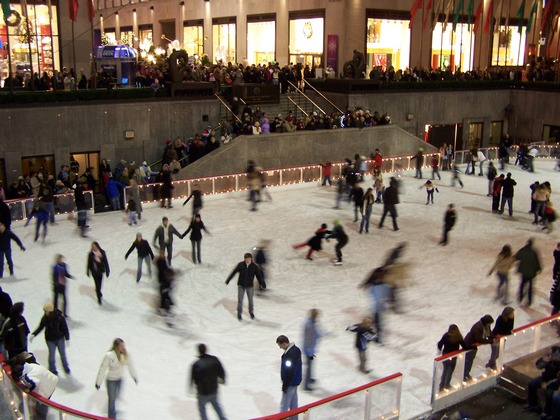 Ice skating at the Rockefeller Center in New York
