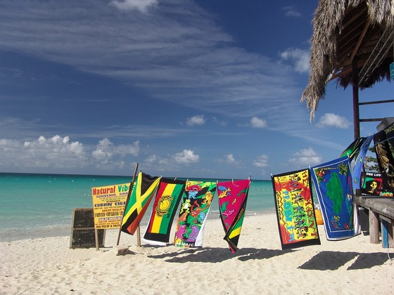 Beach towels on beach in Jamaica