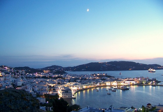 Evening lights on Mykonos island