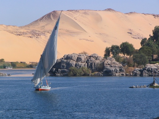 A sailing boat on Nile River