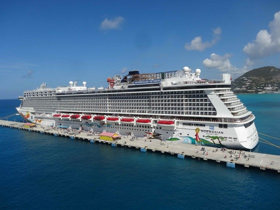 Norwegian cruise line ship in the Caribbeans