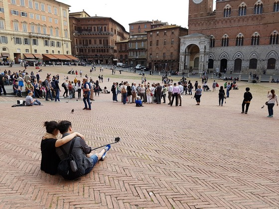 Taking selfie in Siena, Italy