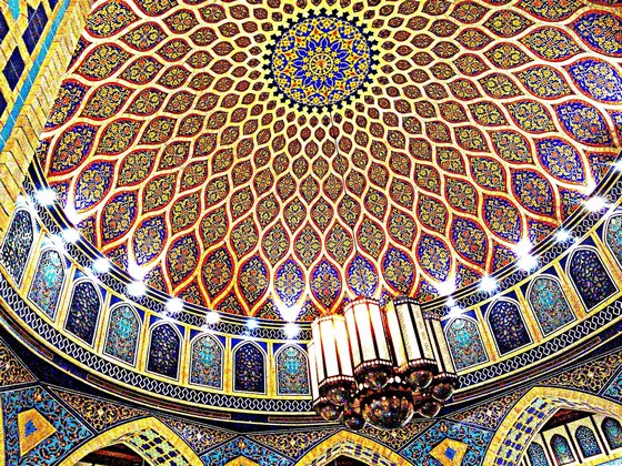 Richly decorated shopping mall dome in Dubai