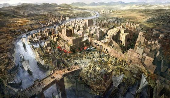 Drawing of a city in ancient civilization