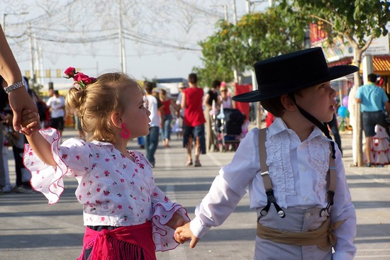 A girl and a boy in Spanish folk attire