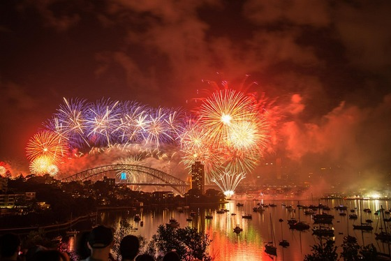 Famous New Year fireworks at Sydney's harbour