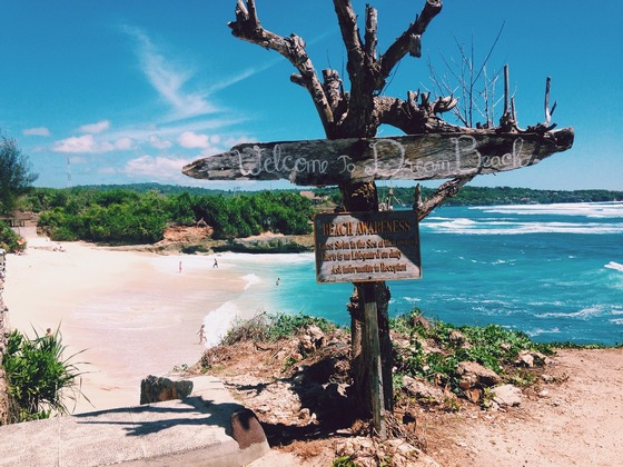 Welcome to Dream Beach sign, in Indonesia