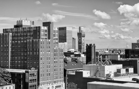 A black and white view of Baltimore