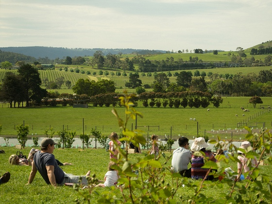 People relaxing on a paddock in a rural region in Australia